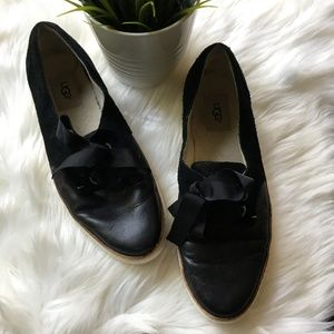 UGG Black Suede & Leather Ribbon Tie Sneakers 9.5